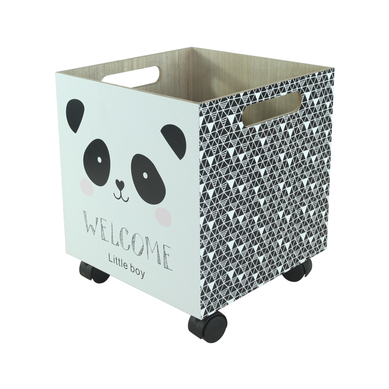 Panda Wood Toy Container with Wheels Kids Decoration