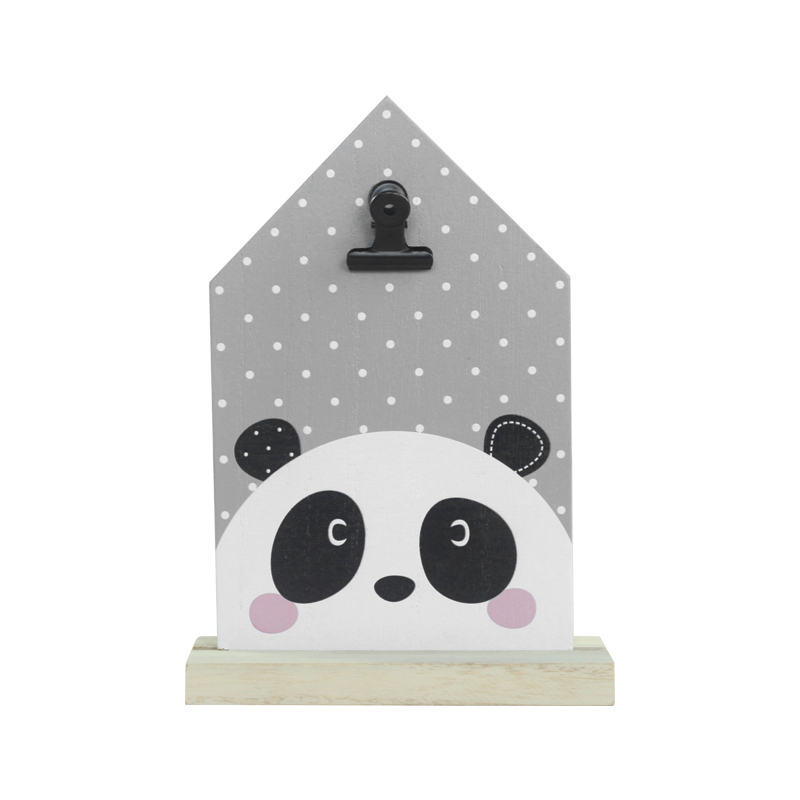 Panda wooden stand witn clip home decoration