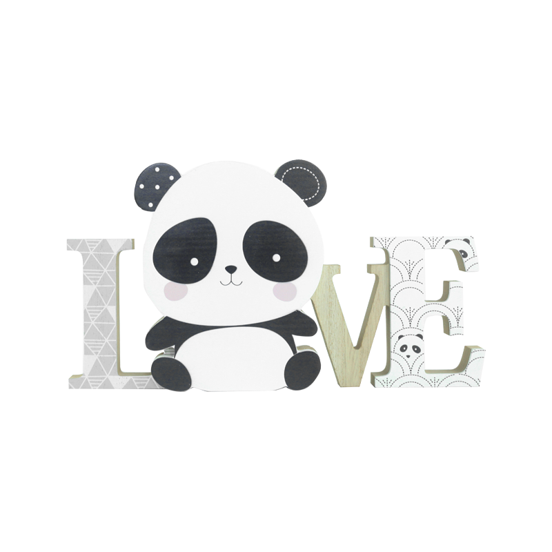 Panda Wood Stand Kids Decoration