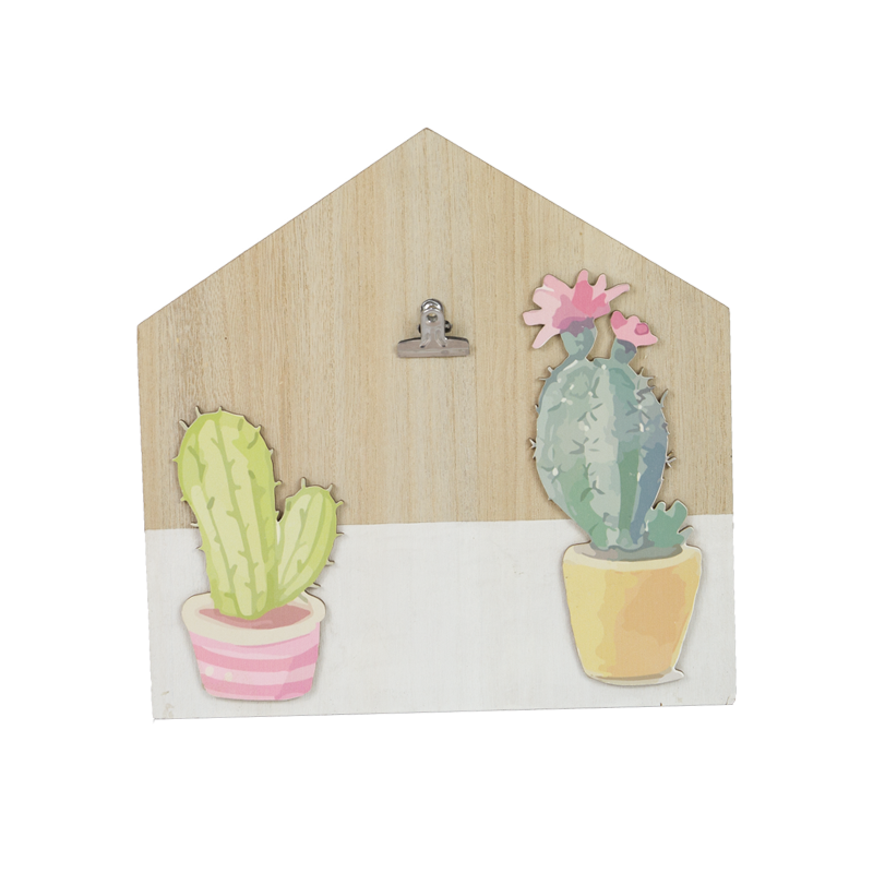 Summer Wooden Cactus House Clip Home Decoration