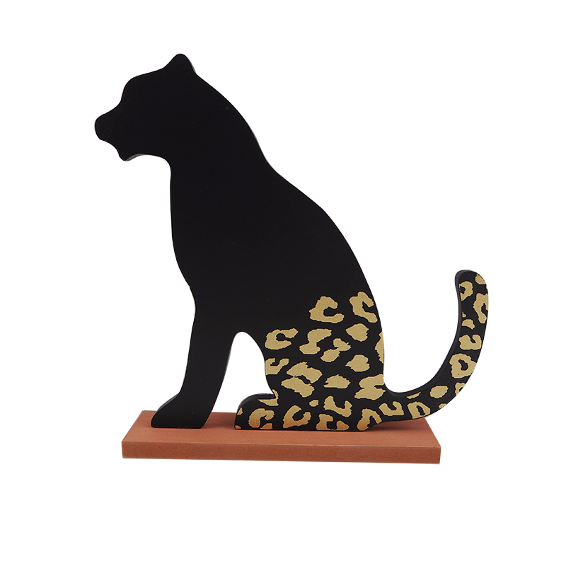 Wooden Leopard Stand Home Decoration