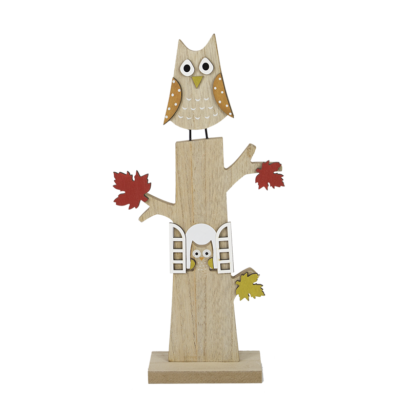 Harvest Owl Wooden Stand Home Decoration