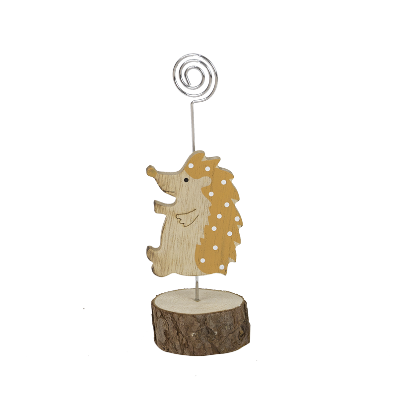 Harvest Hedgehog Card Holder Wooden Stand Home Decoration