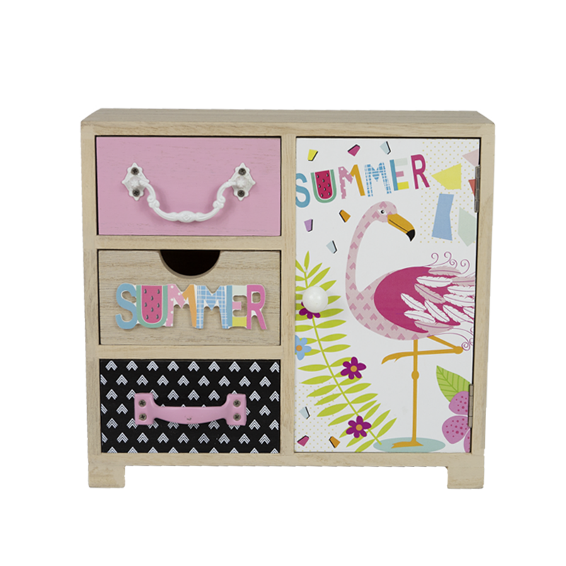 Summer Flamingo Wooden Drawer Home Decoration
