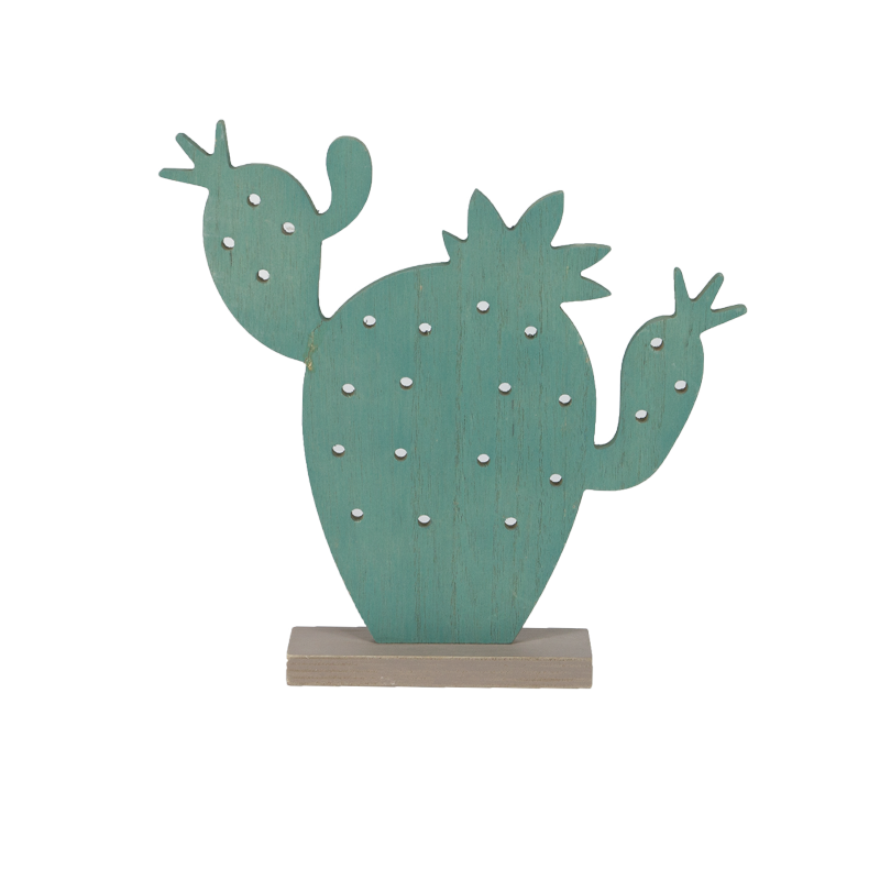 summer Cactus Wooden Stand Home Decoration